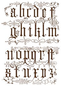 Wings of Whimsy: Ornamental Alphabet - Century Wood Engravings Tattoo Lettering Fonts, Lettering Styles, Calligraphy Fonts, Hand Lettering, Alphabet Graffiti, Graffiti Lettering, Typography Letters, Gothic Lettering, Schrift Tattoos