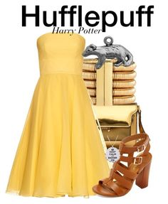 """""""Hufflepuff - Harry Potter"""" by nerd-ville ❤ liked on Polyvore featuring Marni, Balmain, Alexander McQueen, Bamboo, Prom, harrypotter and hogwarts"""