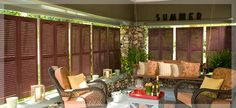 Enhance an outdoor room by hanging easy-to-remove shutters along your porch roof. Use eye-hooks.