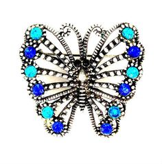Offered to you by The Fashion Den is this vintage blue and aqua rhinestone butterfly brooch set in silver tone metal with raised texturing