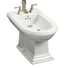 Kohler K-4886 Kohler K-4886-0 White Memoirs bidet, plumbed for vertical spray bidet faucet