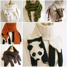"""<input class=""""jpibfi"""" type=""""hidden"""" >These Crochet Animal Scarves are button cute ! They are both practical and decorative for adults or kids. Don't you want to create some of them for yourself and your friends ? Get crochet Now ! Click HERE for the paid pattern from """" Etsy """" 10 Free Crochet Animal Scarves via 'Moogly' Crochet Bear…"""