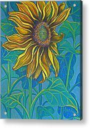 Sunflower Drawing In Pastel Acrylic Print by Deborah Willard