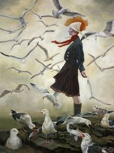 On the Point- seagulls a painting about navigating uncharted horizons .. Andrea Kowch