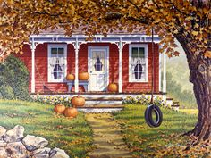 """Autumn Shadows"" by John Sloane Autumn Painting, Autumn Art, Fall Paintings, Country Paintings, Autumn Scenes, Farm Art, Fall Pictures, Country Art, Country Houses"