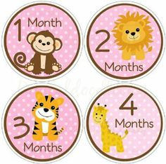 """Safari Animals Baby Month Stickers for Bodysuit #31pink by Digitaldoodlebug. $13.00. Tear proof. White - will PoP on any color. COMPLETELY WATERPROOF. 12 stickers. 3.94"""". These monthly baby stickers will make a great gift for any mom to be. These will make your photos extra cute and special, as well as let you instantly know how old baby was in the photos. These are 3.94"""" round stickers, laser printed. All you have to do is peel off a sticker and put it on baby's bodysuit or tshi..."""