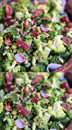 Best Ever Broccoli Salad recipe is bursting with flavor Packed full of broccoli bacon grapes almonds and more - every bite is delicious The perfect addition to any BBQ party or potluck Mom On Timeout Crunchy Broccoli Salad, Brocolli Salad, Best Broccoli Salad Recipe, Broccoli Cranberry Salad, Raw Broccoli, Bbq Salads, Easy Salads, Salad Recipes Video, Healthy Salad Recipes