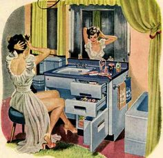 Retro Renovation - Remodeling, decor and home improvement for mid century and vintage homes 1940s Decor, Retro Home Decor, Retro Images, Vintage Images, Retro Pictures, Vintage Advertisements, Vintage Ads, Vintage Bathrooms, 1950s Bathroom