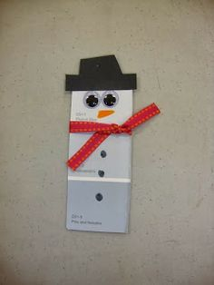 snowman paint chip ornaments-- easy kid crafts