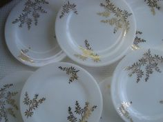 Vintage federal glass golden plates