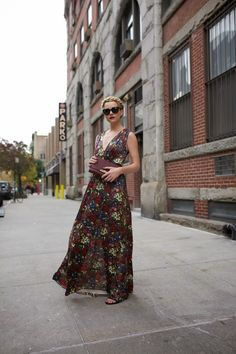 floral maxi dress 2017 with clutch