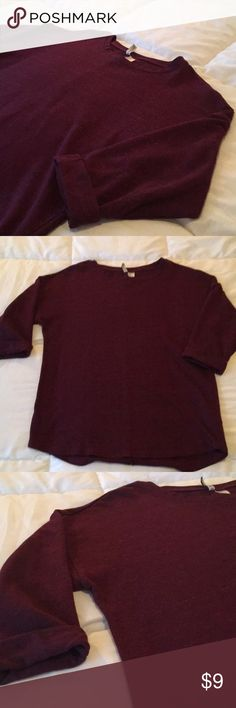 3/4 sleeve maroon top Longer fit tunic shirt. Cuffed 3/4 sleeves Divided Tops Tees - Long Sleeve