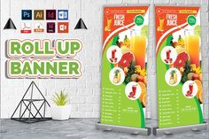 Fruit Juice Menu Rollup Banner by Imagine Design Studio Juice Menu, Fruit Juice, Texture Vector, Vector Shapes, Standing Banner Design, Fruit Delivery, Rollup Banner, Print Templates, Business Flyer