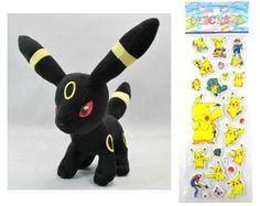 """Pokemon Plush Toy - Umbreon Doll (Size L Large) Around 30cm 12"""" + Pokemon Sticker Doll http://www.amazon.com/dp/B00BZTASAW/ref=cm_sw_r_pi_dp_XTDhvb170PNZ6"""