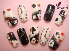 Time for Cards - Dehily Funky Nail Designs, Creative Nail Designs, Beautiful Nail Designs, Creative Nails, Nail Art Designs, Nails Design, Cute Nail Art, Cute Nails, Black And White Nail Art