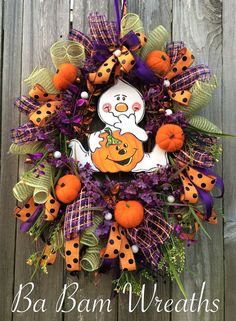 Halloween Mesh Wreath Ghost Wreath Halloween by BaBamWreaths