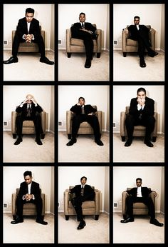 I think this idea is cool. Just have each groomsmen to give a different pose in the same place.