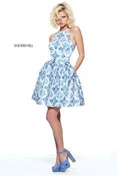 Sherri Hill 51144 Ivory/Blue A-Line Beaded Homecoming Dresses Sherri Hill Prom Dresses Short, Sherri Hill Gowns, Prom Dresses 2017, Pageant Dresses, Dress Prom, Stunning Dresses, Pretty Dresses, Buy Dress, Couture