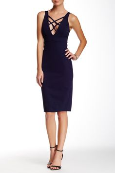 Strappy  V-Neck Bodycon Dress by Sole Mio on @HauteLook