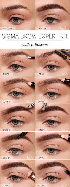 Sigma Brow Expert Kit Eyebrow Tutorial - 13 Best Makeup Tutorials and Infographics for Beginners