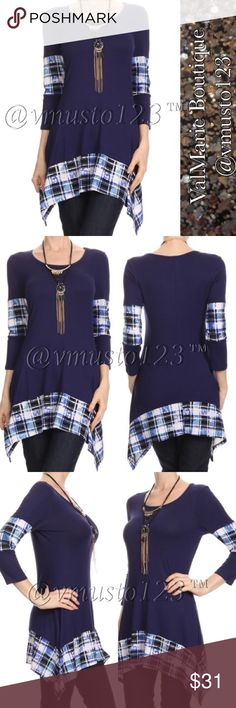 """💟 Plaid Asymmetrical Tunic Top 🇺🇸MADE IN USA - PREMIUM COLLECTION  GORGEOUS TOP!!! SUPER SOFT Plaid/color block, long body 3/4 sleeve top in a relaxed style with a crew neck and an asymmetric hem  CASUAL SLIGHTLY FLOWY FIT, LOOKS SO GOOD ON!  *Model wearing size S- 32Bx25Wx35H and height is 5' 9""""  95% RAYON, 5% SPANDEX  M(6-8) L(10-12) XL (14-16)  ‼️PRICE IS ABSOLUTE FIRM‼️. PLEASE KEEP IN MIND 🇺🇸MADE IN USA🇺🇸 CLOTHING COSTS AND POSH FEES. ValMarie Boutique Tops"""