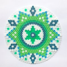 Green mandala hama perler beads by coriander_dk: Perler Bead Designs, Hama Beads Design, Diy Perler Beads, Pearler Beads, Fuse Beads, Fuse Bead Patterns, Perler Patterns, Beading Patterns, Cross Stitch Patterns