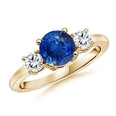 Angara Round Two Stone Twist Blue Sapphire Ring m1sZAYnU7H