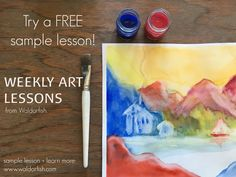 Waldorf-inspired art lessons | Online course | Watercolor, chalk, pastel, block crayons | Homeschool art lessons | RE-PIN this to save it for later!