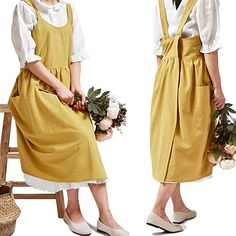 Amazon.com: Cotton Linen Cross Back Apron for Women with Pockets Cute Japanese Korean Style Pinafore Dress Bright Yellow: Kitchen & Dining Japanese Fashion, Korean Fashion, Cute Japanese, Japanese Cotton, Cute Aprons, Linen Apron, Apron Designs, Pinafore Dress, Hippie Outfits