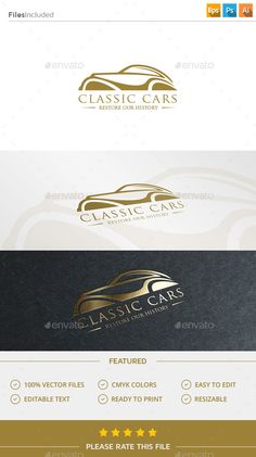 Classic Car Logo Template #design #logotype Download: http://graphicriver.net/item/classic-car-logo/11609367?ref=ksioks