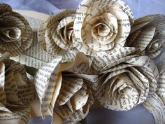 Vintage Origami flowers rustic PAPER BOOK PAGES by moniaflowers