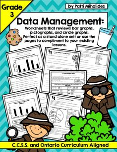 A 10 page collection of Data Management/Graphing worksheets designed for students in Third Grade with the focus on interpreting data from bar graphs, pictographs and circle graphs.  Ontario/CCSS aligned.