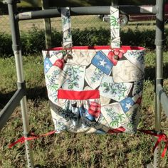 """Handmade in Texas, by a Native Texan, for Texas lovers! This walker bag is approximately 12"""" tall, 3"""" deep, 15"""" wide  Fully lined with fleece interfacing! Adjustable length straps have an """"overall buckle"""" for easy on/off.   Created using 100% cotton!  Bag care: machine wash on gentle cycle using mild soap. Dry on low setting for 20 minutes, then remove to finish air drying. Reshape if necessary. Iron if necessary."""