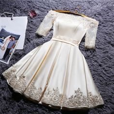 Find More Information about Evening Dress Knee Length Champagne Lace Half Sleeves Boat Neck Satin Cheap Evening Prom Party Dresses Robe De Soiree Courte,High Quality dress japanese,China party time fancy dress Suppliers, Cheap dress party short from Princessally Dresses Store on Aliexpress.com