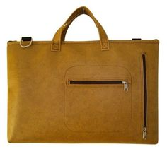Mustard gold 15-inch vinyl laptop bag
