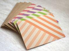 Striped Card Set of 4  Eco Friendly Blank Note by HappyDappyBits, $13.00