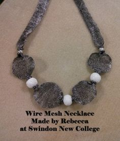 Hematite mesh necklace made by Rebecca at Swindon New College intermedaite jewellery makers course.