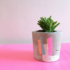 A stunning concrete pot painted in an abstract selection of Bon colours. A contemporary concrete pot, handmade and finished with a hand painted abstract pattern in an array of Bon colours. Perfectly sized to fit mini succulent plants or alternatively tea light candles. All pots come complete with your very own succulent plant and care information sheet for looking after your plant. Finished in a selection of hand painted Bon colours; metallic copper, turquoise blue, neon pink, bright…