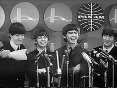 The Beatles at their first US press conference - JFK International Airport - 2-7 in 1964 -- 50 years ago today.