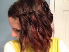 Short bob layered ombre hair with waterfall braid simple easy hair just curl with wand then braid