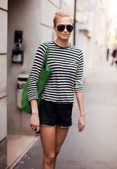 Cute shorts and a casual stripey tee. Stripes in street style.