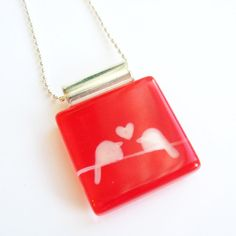 Valentine love birds red pendant  Hand painted glass  by azurine, $25.00