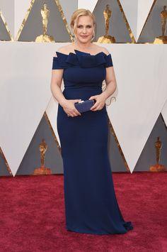 Patricia Arquette chose a Marina Rinaldi midnight blue elegant gown to wear  at the 2016 Academy 6ea6cbcd5e6