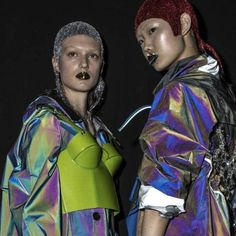 Maison Margiela Artisanal by John Galliano, Spring 2018 show, models Madison Moehling (Look 2) & Sijia Kang (Look 3) backstage. Pat Mcgrath, High Fashion, Womens Fashion, Margiela, John Galliano, Fashion Editor, Front Row, Futuristic, Stylists