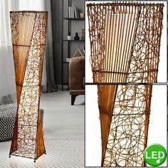 Steh Lampe Schlaf Zimmer Beistell Lese Stativ Strahler Flur Leuchte Textil grau