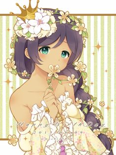 1girl blush braid crown dark_skin dated dress flower green_eyes hair_flower hair_ornament happy_birthday looking_at_viewer love_live!_school_idol_project purple_hair sakuramochi_n single_braid smelling_flower solo strapless_dress toujou_nozomi twitter_username vertical-striped_background vertical_stripes vines