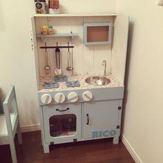 accaさんの、DIY,キッズキッチン,セリア,子供部屋,おままごとキッチン,おままごとキッチンDIY ,カラーボックス,のお部屋写真