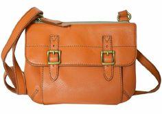 Fossil Light Orange Leather Tate Top Zip Organizer Crossbody Bag