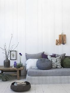 grey + wood + white living space #daybed #walls