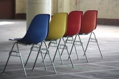 #Eames #builtolast Vibrant Vintage Charles and Ray Eames Molded Fiberglass Side Shell Chairs for Herman Miller (U.S.A.) | by Kennyk@k2modern.com